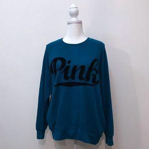 VS PINK Victoria's Secret Teal Blue Velvet Top S
